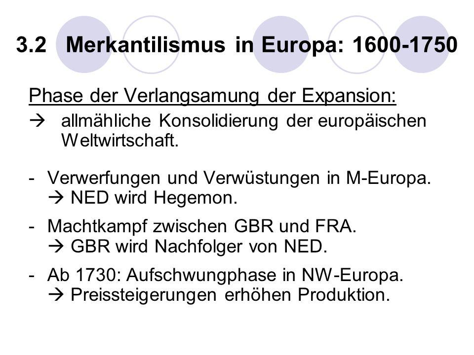 3.2 Merkantilismus in Europa: 1600-1750 Phase der Verlangsamung der Expansion: allmähliche Konsolidierung der europäischen Weltwirtschaft. -Verwerfung