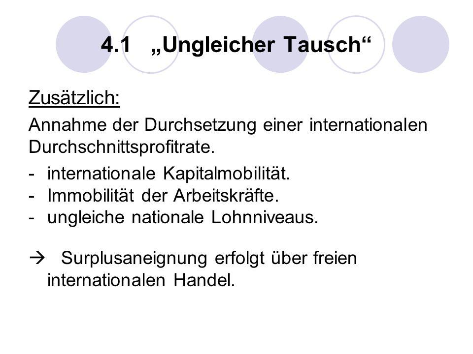 4.1 Ungleicher Tausch Zusätzlich: Annahme der Durchsetzung einer internationalen Durchschnittsprofitrate. -internationale Kapitalmobilität. -Immobilit