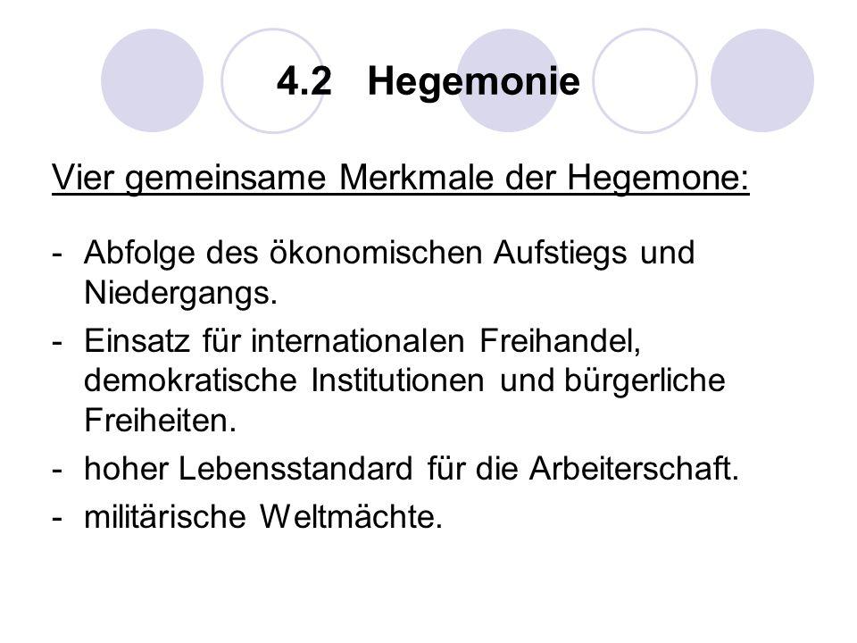 4.2 Hegemonie Vier gemeinsame Merkmale der Hegemone: -Abfolge des ökonomischen Aufstiegs und Niedergangs. -Einsatz für internationalen Freihandel, dem