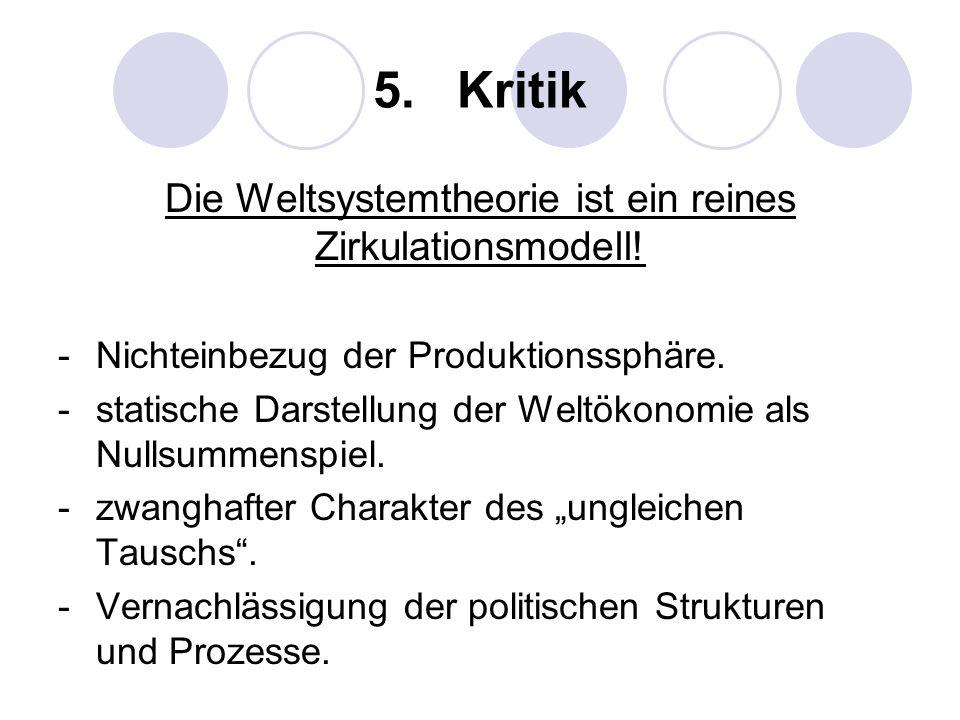 5. Kritik Die Weltsystemtheorie ist ein reines Zirkulationsmodell! -Nichteinbezug der Produktionssphäre. -statische Darstellung der Weltökonomie als N