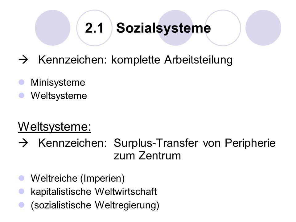 2.1 Sozialsysteme Kennzeichen: komplette Arbeitsteilung Minisysteme Weltsysteme Weltsysteme: Kennzeichen:Surplus-Transfer von Peripherie zum Zentrum W