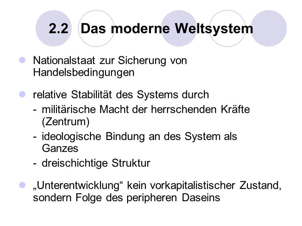 2.2 Das moderne Weltsystem Nationalstaat zur Sicherung von Handelsbedingungen relative Stabilität des Systems durch -militärische Macht der herrschend