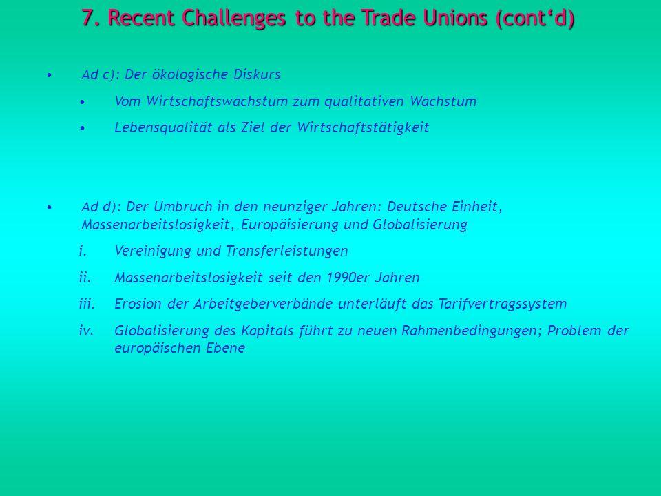 7. Recent Challenges to the Trade Unions (contd) Ad c): Der ökologische Diskurs Vom Wirtschaftswachstum zum qualitativen Wachstum Lebensqualität als Z