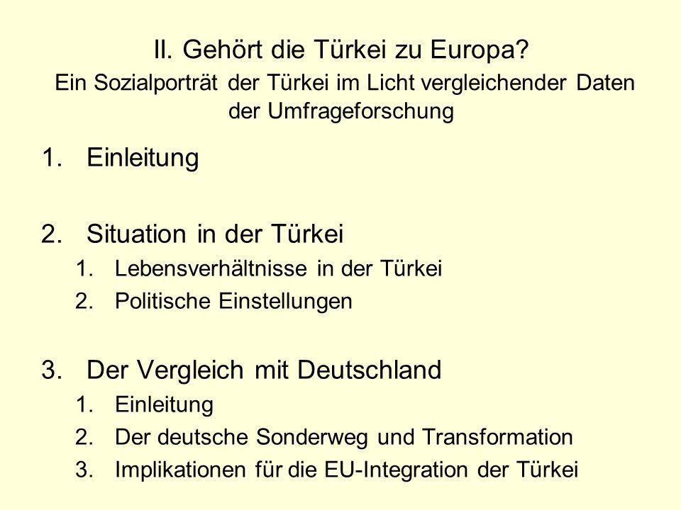 II. Gehört die Türkei zu Europa? Ein Sozialporträt der Türkei im Licht vergleichender Daten der Umfrageforschung 1.Einleitung 2.Situation in der Türke