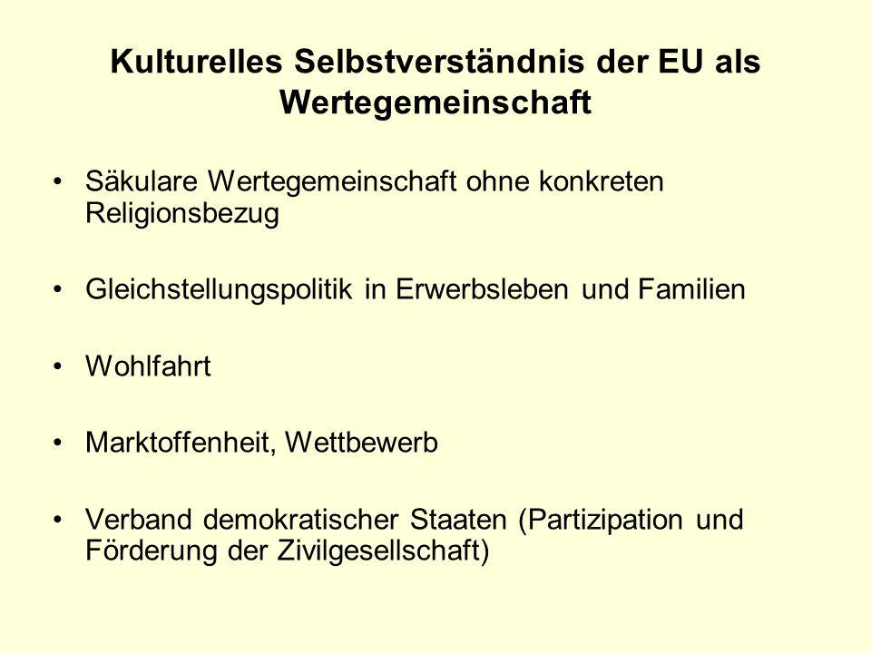 Kulturelles Selbstverständnis der EU als Wertegemeinschaft Säkulare Wertegemeinschaft ohne konkreten Religionsbezug Gleichstellungspolitik in Erwerbsl