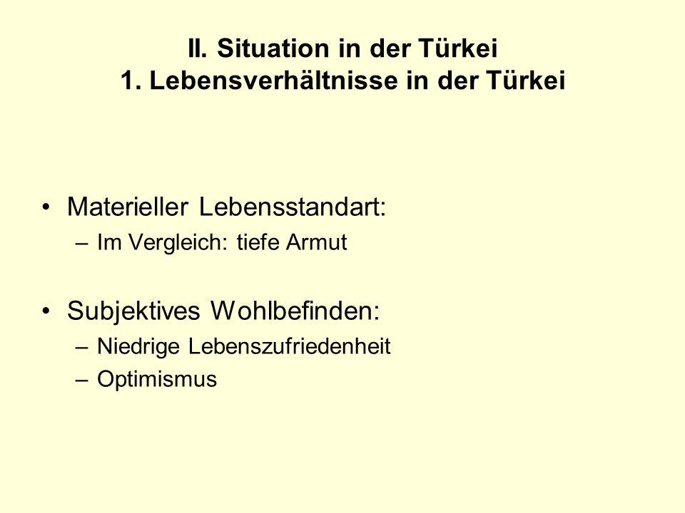 II. Situation in der Türkei 1. Lebensverhältnisse in der Türkei Materieller Lebensstandart: –Im Vergleich: tiefe Armut Subjektives Wohlbefinden: –Nied