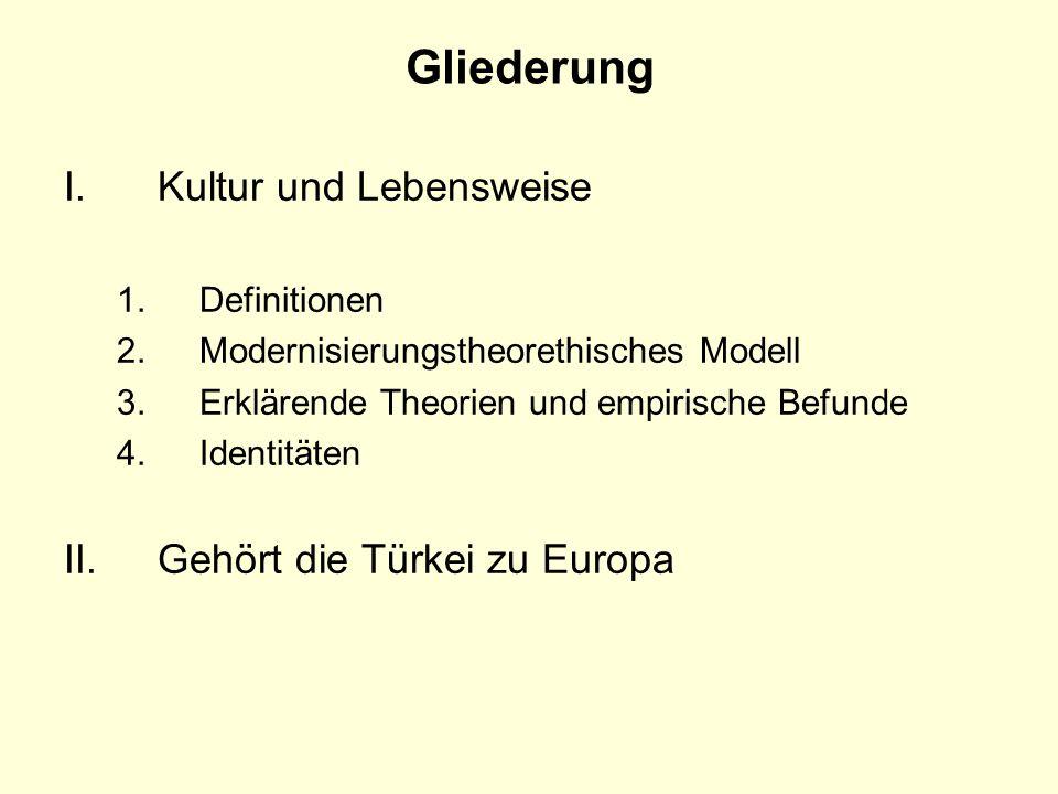 Gliederung I.Kultur und Lebensweise 1.Definitionen 2.Modernisierungstheorethisches Modell 3.Erklärende Theorien und empirische Befunde 4. Identitäten