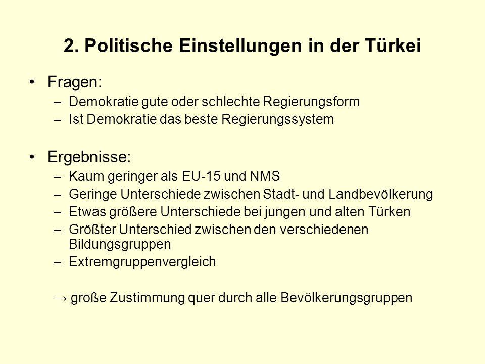 2. Politische Einstellungen in der Türkei Fragen: –Demokratie gute oder schlechte Regierungsform –Ist Demokratie das beste Regierungssystem Ergebnisse