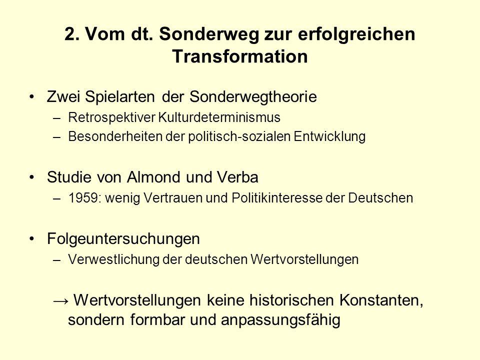 2. Vom dt. Sonderweg zur erfolgreichen Transformation Zwei Spielarten der Sonderwegtheorie –Retrospektiver Kulturdeterminismus –Besonderheiten der pol