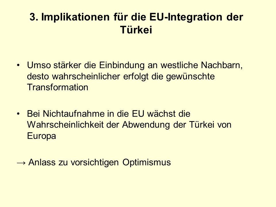 3. Implikationen für die EU-Integration der Türkei Umso stärker die Einbindung an westliche Nachbarn, desto wahrscheinlicher erfolgt die gewünschte Tr