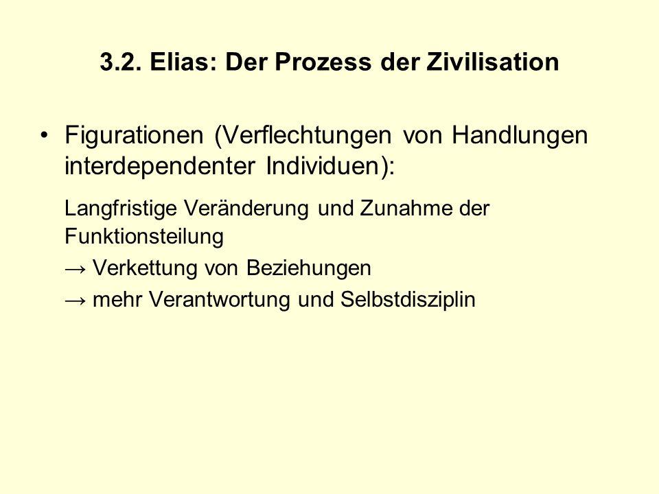 3.2. Elias: Der Prozess der Zivilisation Figurationen (Verflechtungen von Handlungen interdependenter Individuen): Langfristige Veränderung und Zunahm