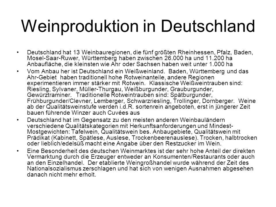 Weinproduktion in Deutschland Deutschland hat 13 Weinbauregionen, die fünf größten Rheinhessen, Pfalz, Baden, Mosel-Saar-Ruwer, Württemberg haben zwischen 26.000 ha und 11.200 ha Anbaufläche, die kleinsten wie Ahr oder Sachsen haben weit unter 1.000 ha Vom Anbau her ist Deutschland ein Weißweinland.