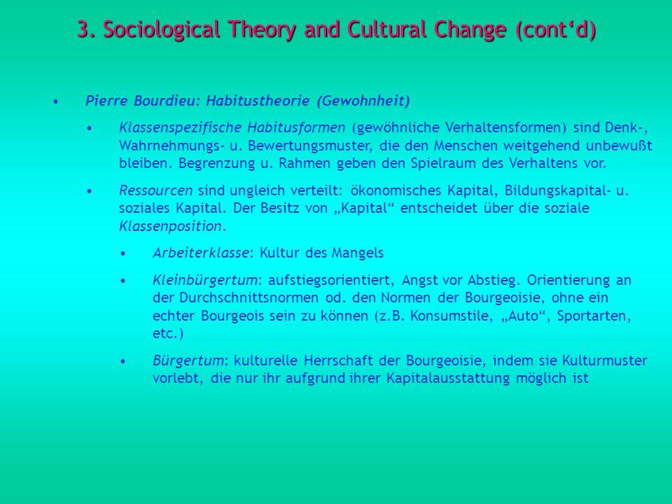 3. Sociological Theory and Cultural Change (contd) Pierre Bourdieu: Habitustheorie (Gewohnheit) Klassenspezifische Habitusformen (gewöhnliche Verhalte