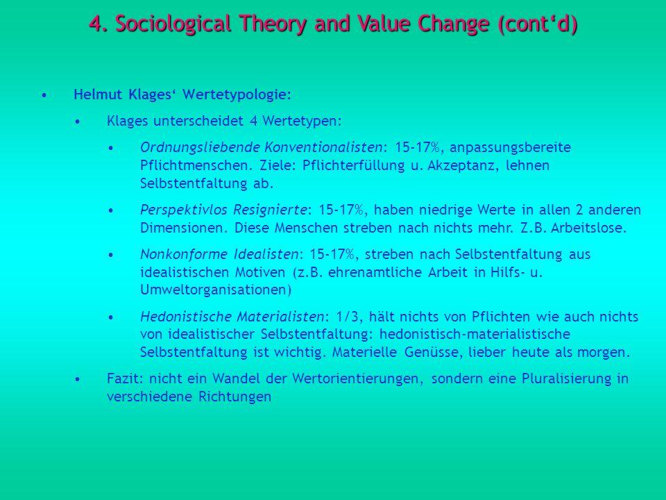 4. Sociological Theory and Value Change (contd) Helmut Klages Wertetypologie: Klages unterscheidet 4 Wertetypen: Ordnungsliebende Konventionalisten: 1