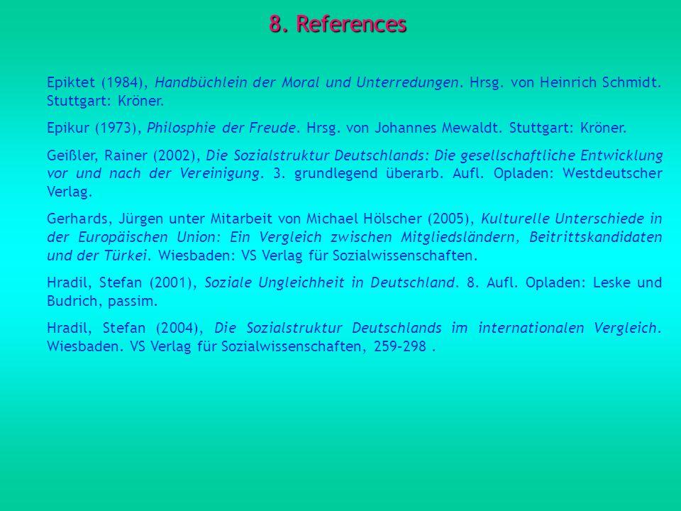 8.References Epiktet (1984), Handbüchlein der Moral und Unterredungen.
