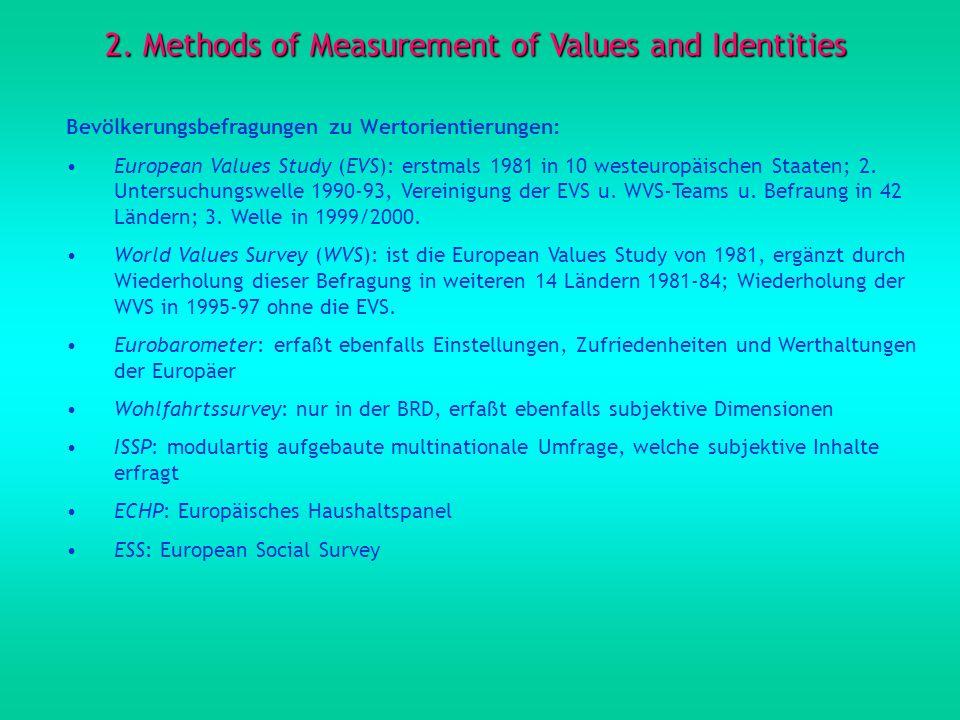 2. Methods of Measurement of Values and Identities Bevölkerungsbefragungen zu Wertorientierungen: European Values Study (EVS): erstmals 1981 in 10 wes