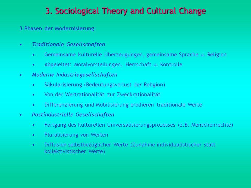 3. Sociological Theory and Cultural Change 3 Phasen der Modernisierung: Traditionale Gesellschaften Gemeinsame kulturelle Überzeugungen, gemeinsame Sp