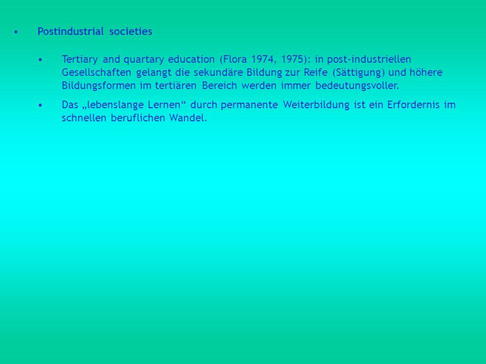 Postindustrial societies Tertiary and quartary education (Flora 1974, 1975): in post-industriellen Gesellschaften gelangt die sekundäre Bildung zur Re
