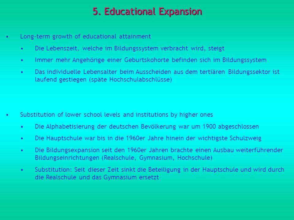 5. Educational Expansion Long-term growth of educational attainment Die Lebenszeit, welche im Bildungssystem verbracht wird, steigt Immer mehr Angehör