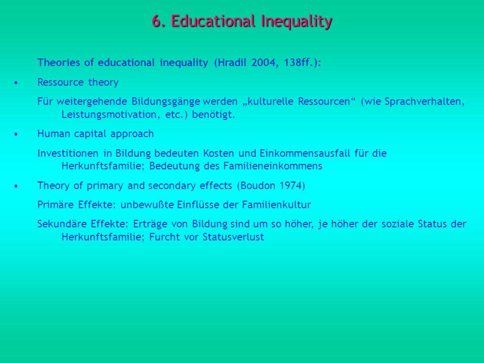 6. Educational Inequality Theories of educational inequality (Hradil 2004, 138ff.): Ressource theory Für weitergehende Bildungsgänge werden kulturelle
