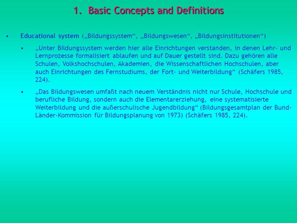 1.Basic Concepts and Definitions Educational system (Bildungssystem, Bildungswesen, Bildungsinstitutionen) Unter Bildungssystem werden hier alle Einri