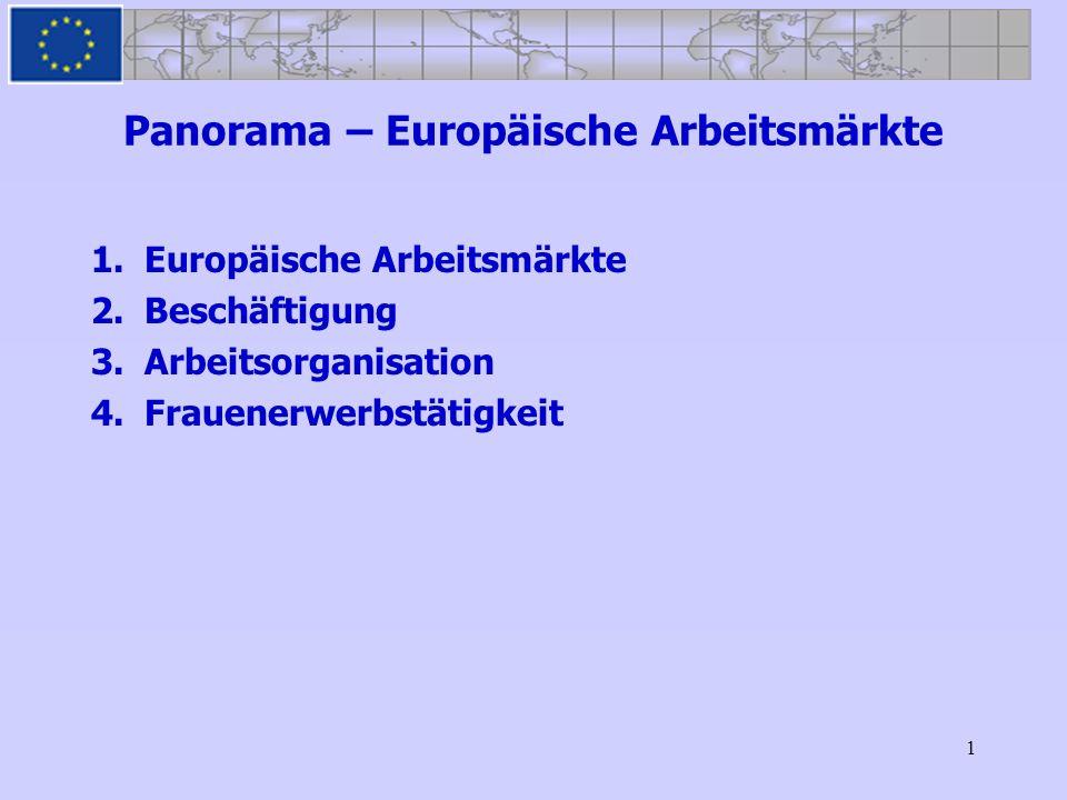 1 Panorama – Europäische Arbeitsmärkte 1.Europäische Arbeitsmärkte 2.Beschäftigung 3.Arbeitsorganisation 4.Frauenerwerbstätigkeit