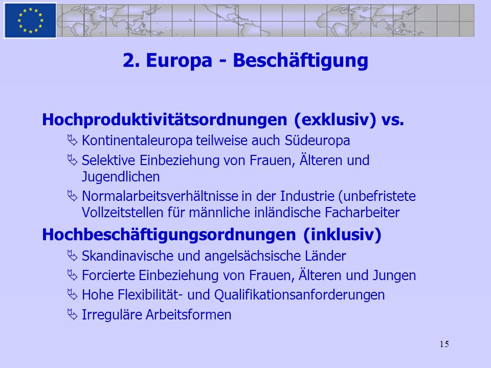 15 2. Europa - Beschäftigung Hochproduktivitätsordnungen (exklusiv) vs. Kontinentaleuropa teilweise auch Südeuropa Selektive Einbeziehung von Frauen,