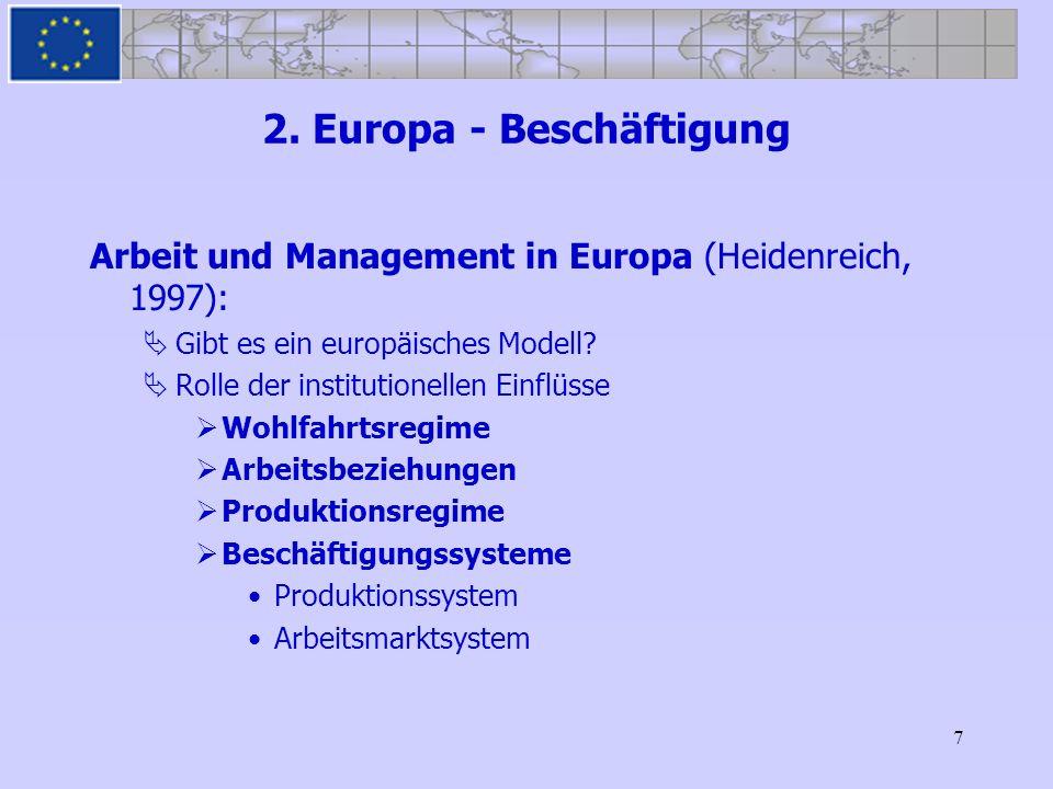 7 2. Europa - Beschäftigung Arbeit und Management in Europa (Heidenreich, 1997): Gibt es ein europäisches Modell? Rolle der institutionellen Einflüsse