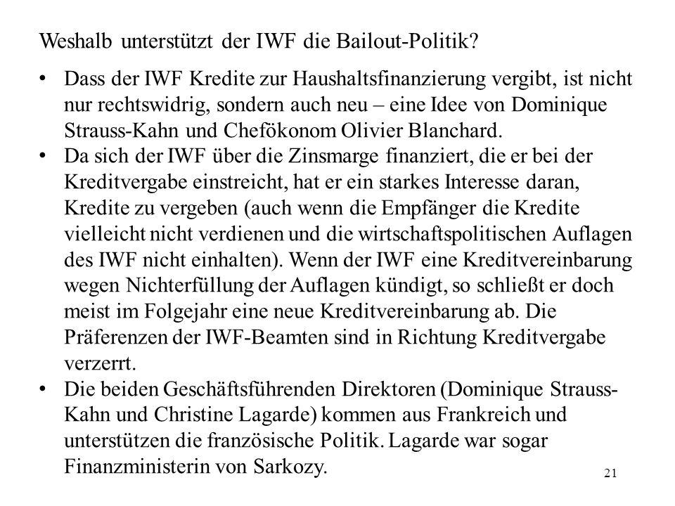 21 Weshalb unterstützt der IWF die Bailout-Politik.