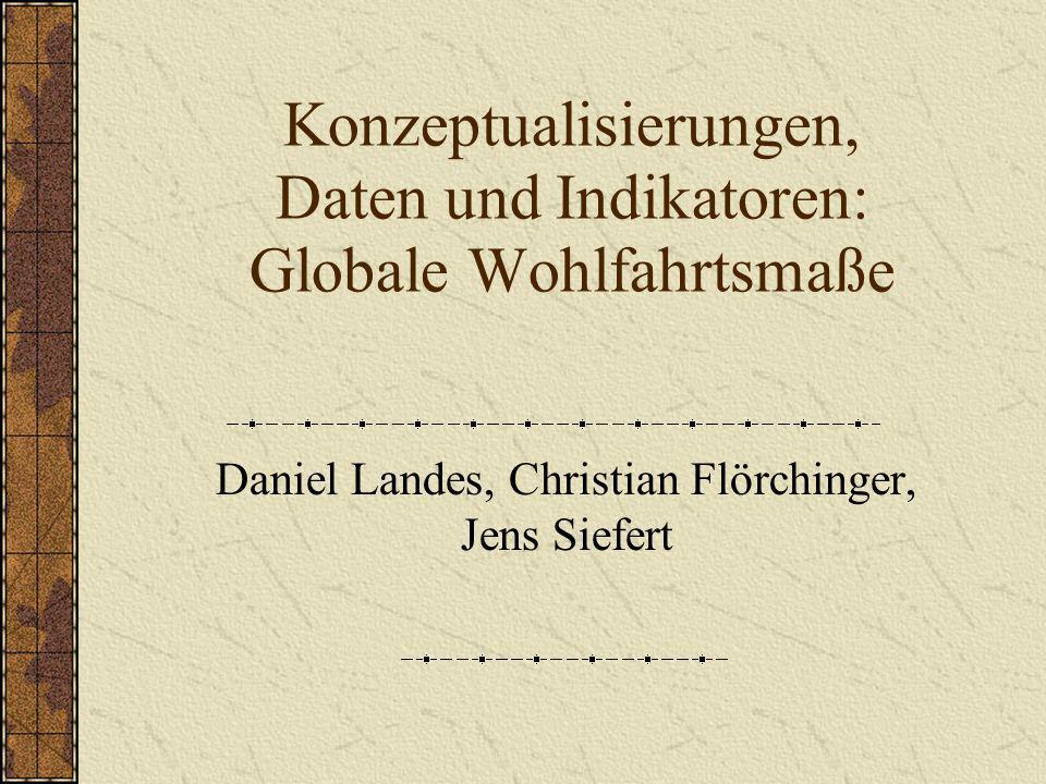 Konzeptualisierungen, Daten und Indikatoren: Globale Wohlfahrtsmaße Daniel Landes, Christian Flörchinger, Jens Siefert