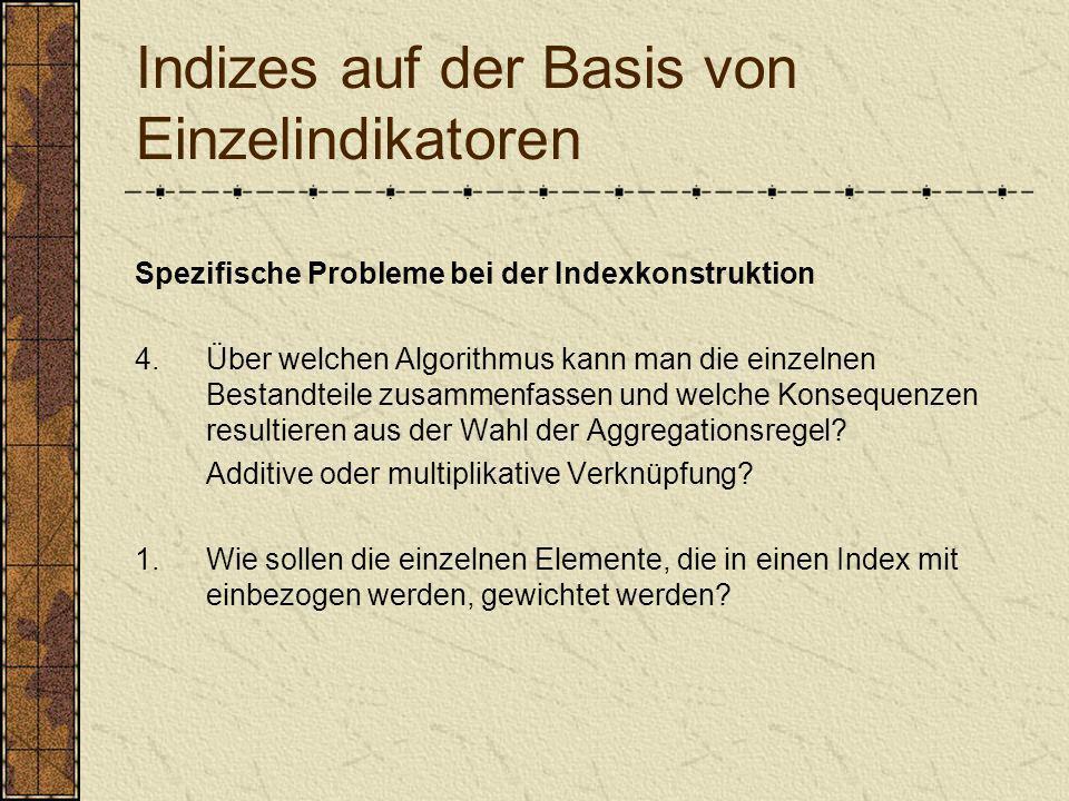 Indizes auf der Basis von Einzelindikatoren Spezifische Probleme bei der Indexkonstruktion 4.Über welchen Algorithmus kann man die einzelnen Bestandte