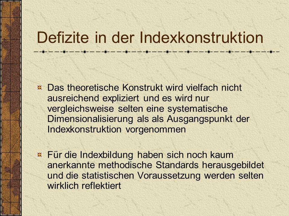 Defizite in der Indexkonstruktion Das theoretische Konstrukt wird vielfach nicht ausreichend expliziert und es wird nur vergleichsweise selten eine sy
