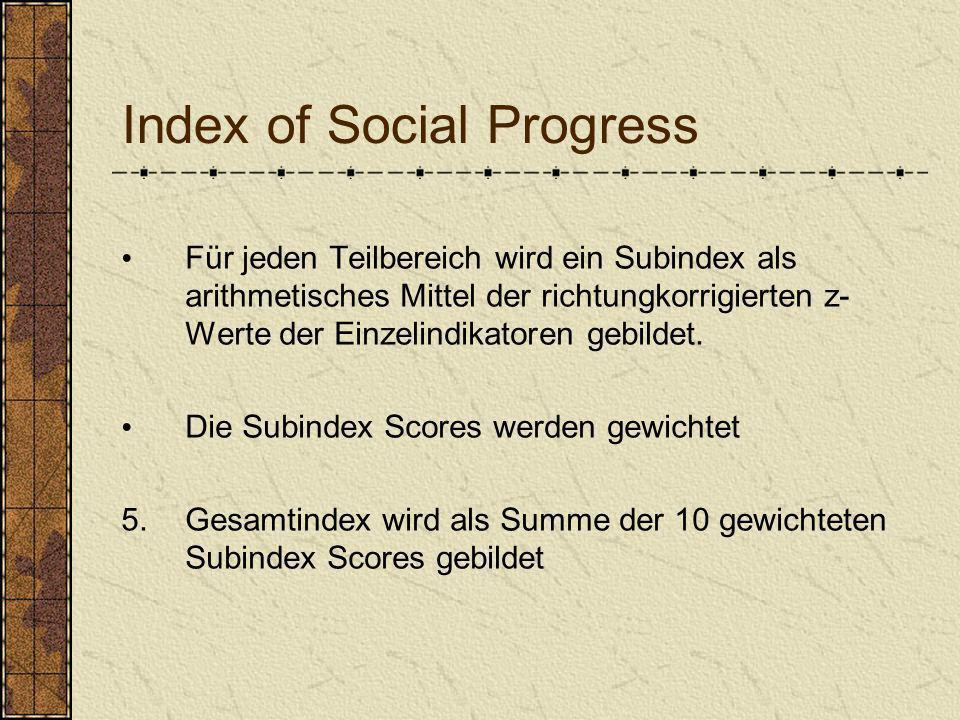 Index of Social Progress Für jeden Teilbereich wird ein Subindex als arithmetisches Mittel der richtungkorrigierten z- Werte der Einzelindikatoren geb