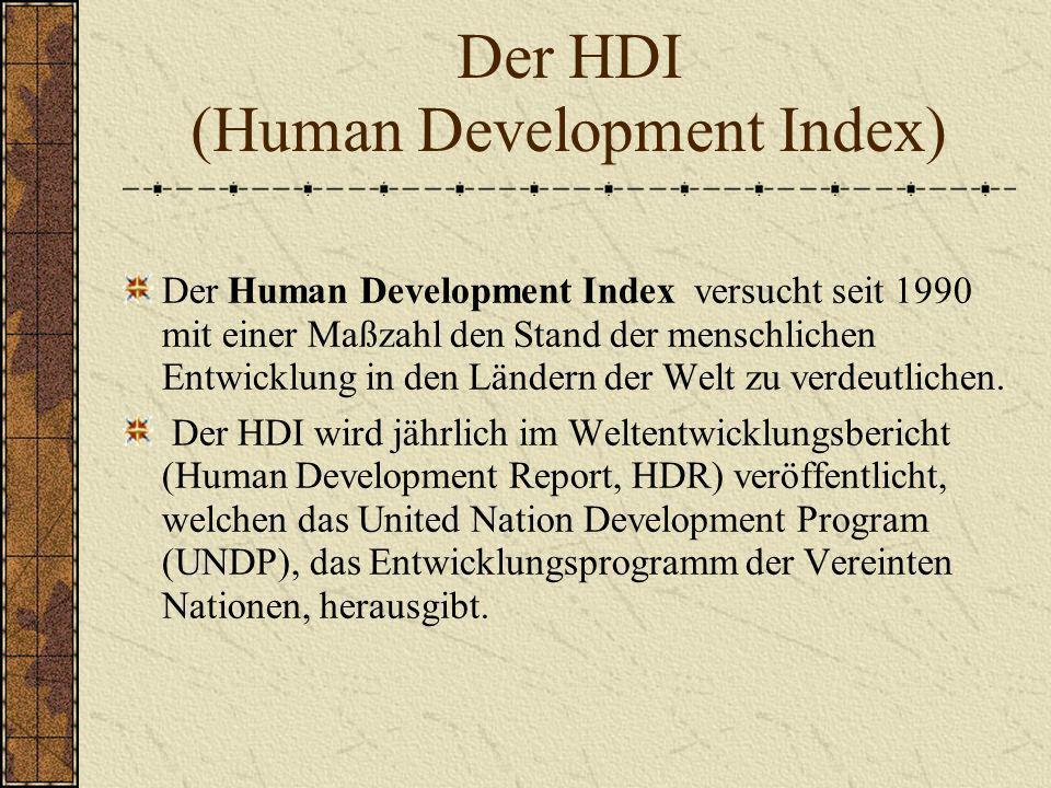 Der HDI (Human Development Index) Der Human Development Index versucht seit 1990 mit einer Maßzahl den Stand der menschlichen Entwicklung in den Lände