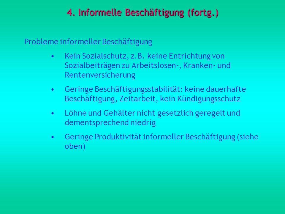 4. Informelle Beschäftigung (fortg.) Probleme informeller Beschäftigung Kein Sozialschutz, z.B. keine Entrichtung von Sozialbeiträgen zu Arbeitslosen-