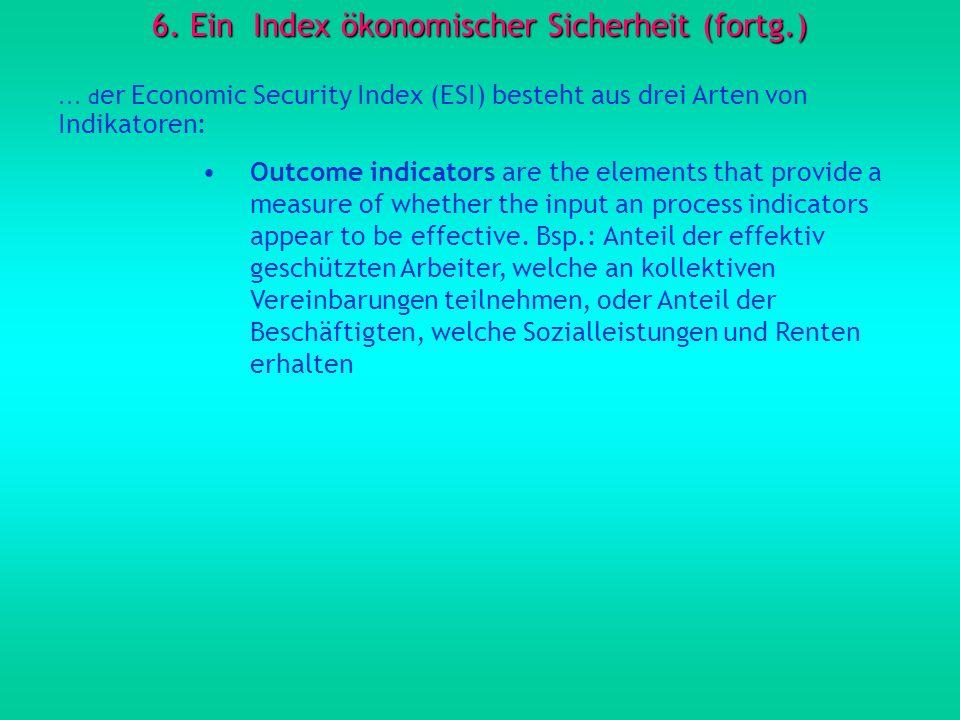 6. Ein Index ökonomischer Sicherheit (fortg.)... d er Economic Security Index (ESI) besteht aus drei Arten von Indikatoren: Outcome indicators are the