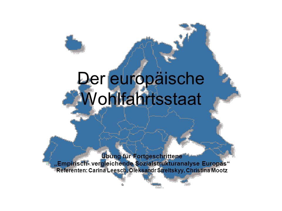Der europäische Wohlfahrtsstaat Übung für Fortgeschrittene Empirisch- vergleichende Sozialstrukturanalyse Europas Referenten: Carina Leesch, Oleksandr