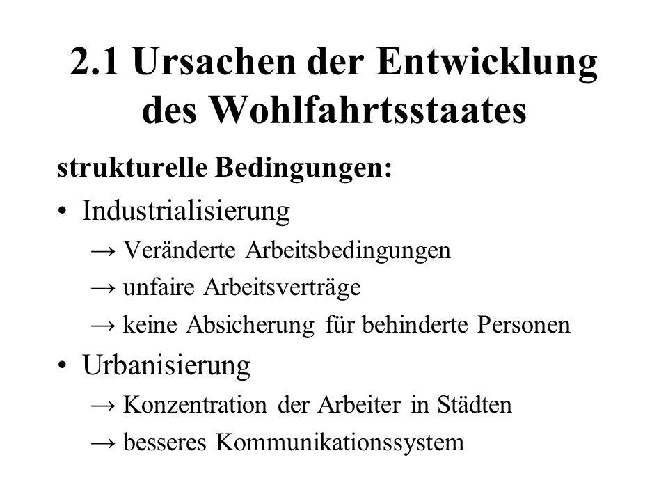2.1 Ursachen der Entwicklung des Wohlfahrtsstaates strukturelle Bedingungen: Industrialisierung Veränderte Arbeitsbedingungen unfaire Arbeitsverträge