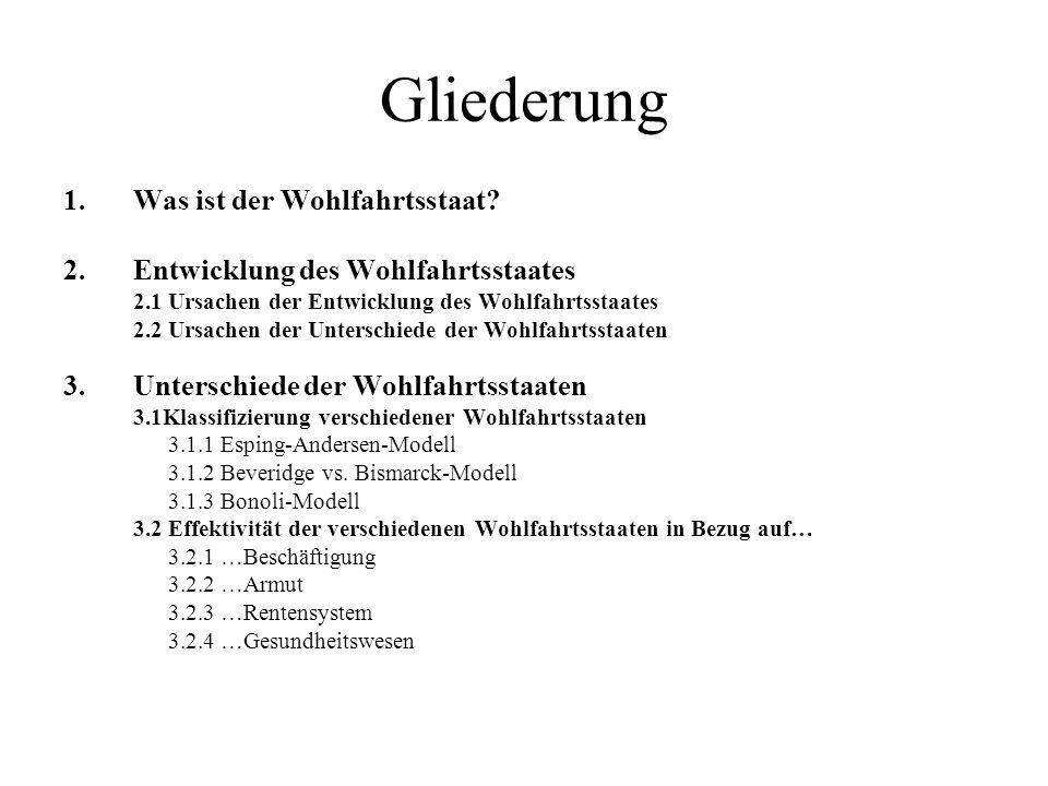 3.1.1 Esping-Andersen- Modell Klassifizierung der Wohlfahrtstaaten nach Esping- Andersen Bis Ende 1970 dominieren die funktionalistischen Ansätze: Operationalisierung über die Sozialausgabenquoten.