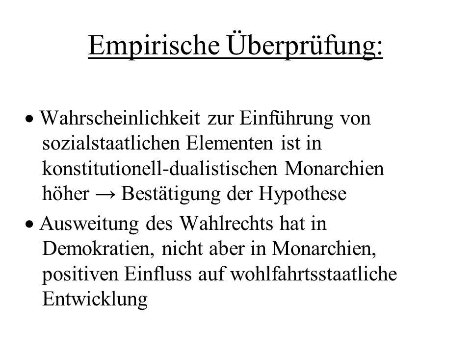 Empirische Überprüfung: Wahrscheinlichkeit zur Einführung von sozialstaatlichen Elementen ist in konstitutionell-dualistischen Monarchien höher Bestät