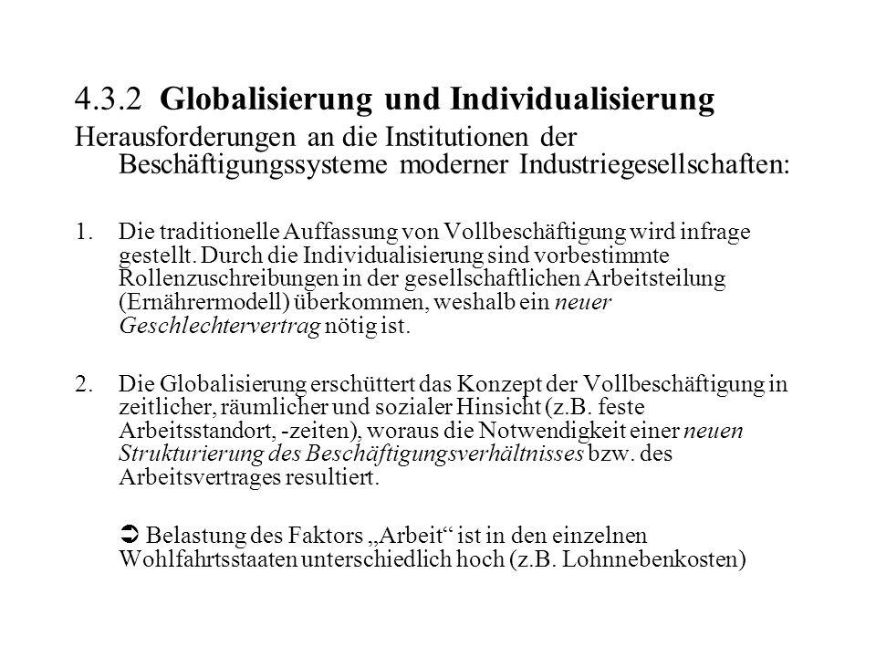 4.3.2 Globalisierung und Individualisierung Herausforderungen an die Institutionen der Beschäftigungssysteme moderner Industriegesellschaften: 1.Die t