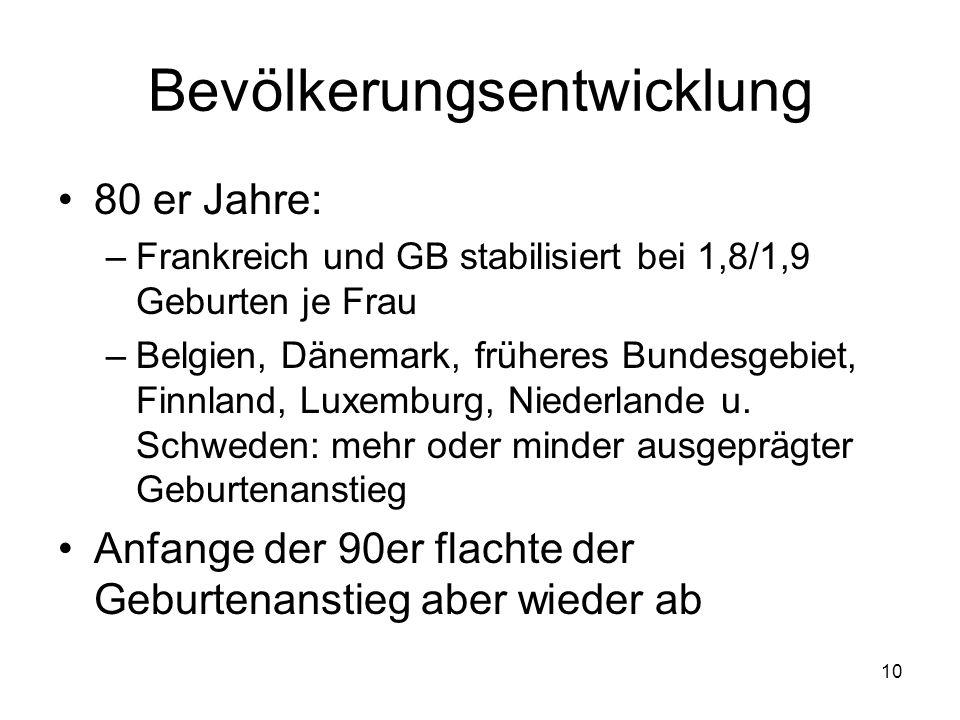 9 Bevölkerungsentwicklung Deutschland1970 bis 1985: weltweit niedrigste Geburtenniveau: Deutschland Seit 1986: Italien, Spanien Erklärungen: evtl.
