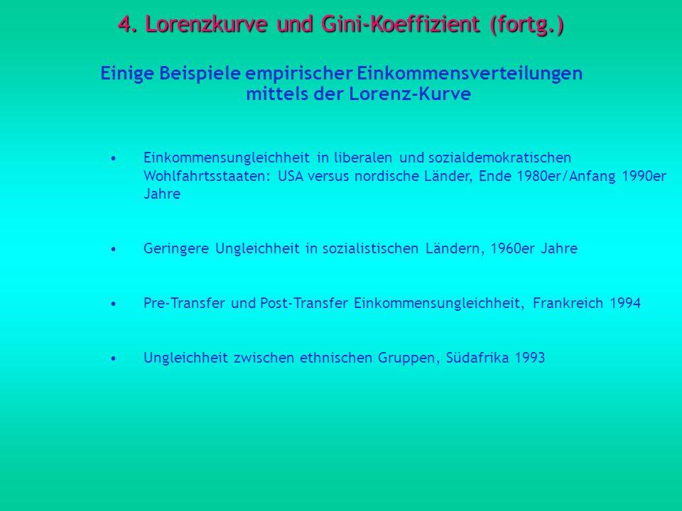 4. Lorenzkurve und Gini-Koeffizient (fortg.) Einige Beispiele empirischer Einkommensverteilungen mittels der Lorenz-Kurve Einkommensungleichheit in li