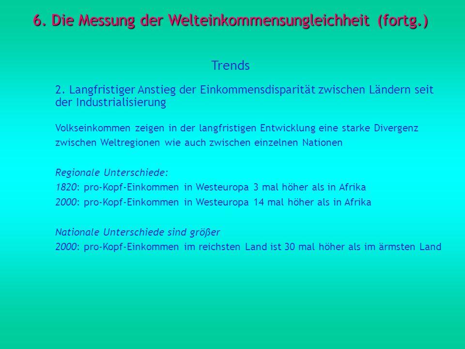 6. Die Messung der Welteinkommensungleichheit (fortg.) Trends 2. Langfristiger Anstieg der Einkommensdisparität zwischen Ländern seit der Industrialis