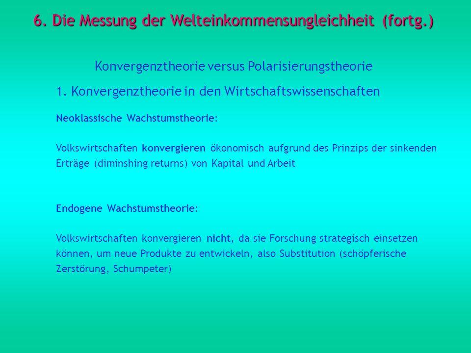 6. Die Messung der Welteinkommensungleichheit (fortg.) Konvergenztheorie versus Polarisierungstheorie 1. Konvergenztheorie in den Wirtschaftswissensch