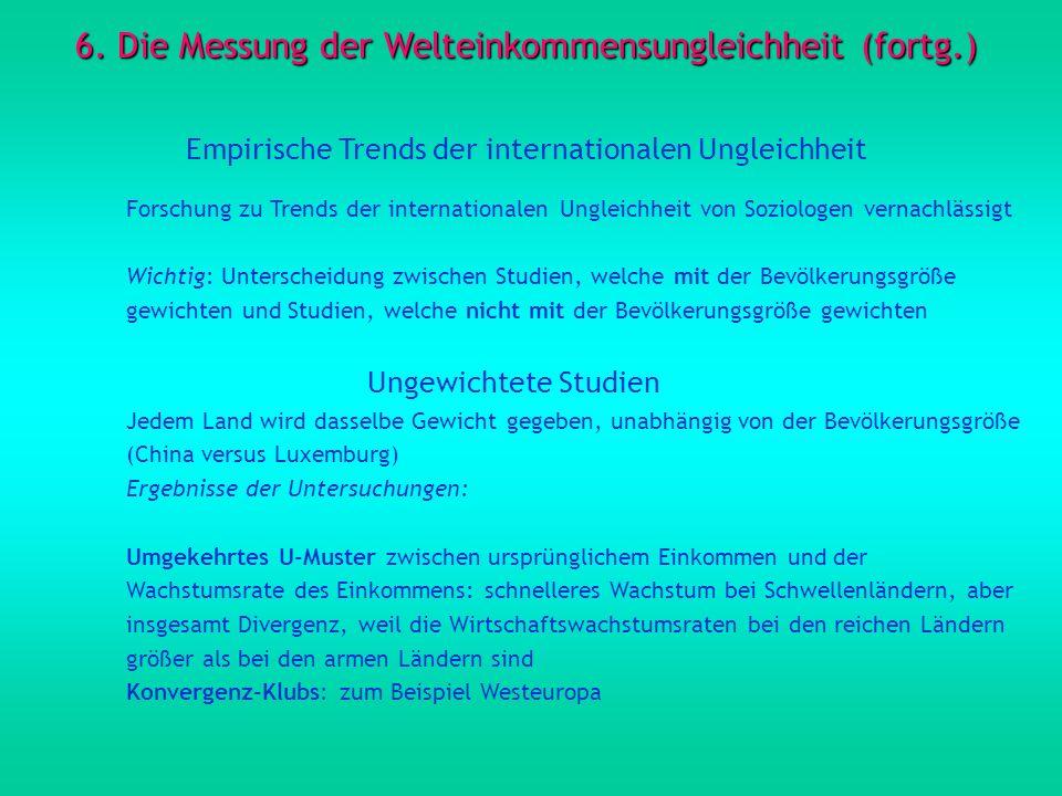 6. Die Messung der Welteinkommensungleichheit (fortg.) Empirische Trends der internationalen Ungleichheit Forschung zu Trends der internationalen Ungl