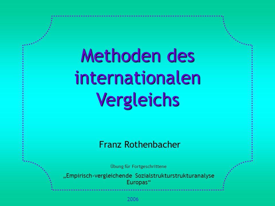 Methoden des internationalen Vergleichs Franz Rothenbacher Übung für Fortgeschrittene Empirisch-vergleichende Sozialstrukturstrukturanalyse Europas 20