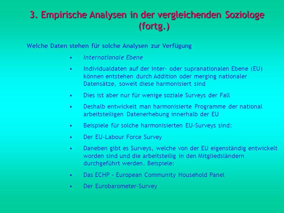 3. Empirische Analysen in der vergleichenden Soziologe (fortg.) Welche Daten stehen für solche Analysen zur Verfügung Internationale Ebene Individuald