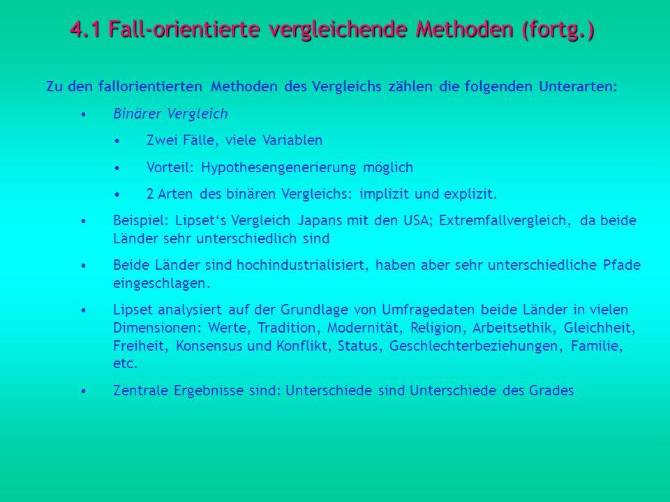 4.1 Fall-orientierte vergleichende Methoden (fortg.) Zu den fallorientierten Methoden des Vergleichs zählen die folgenden Unterarten: Binärer Vergleic