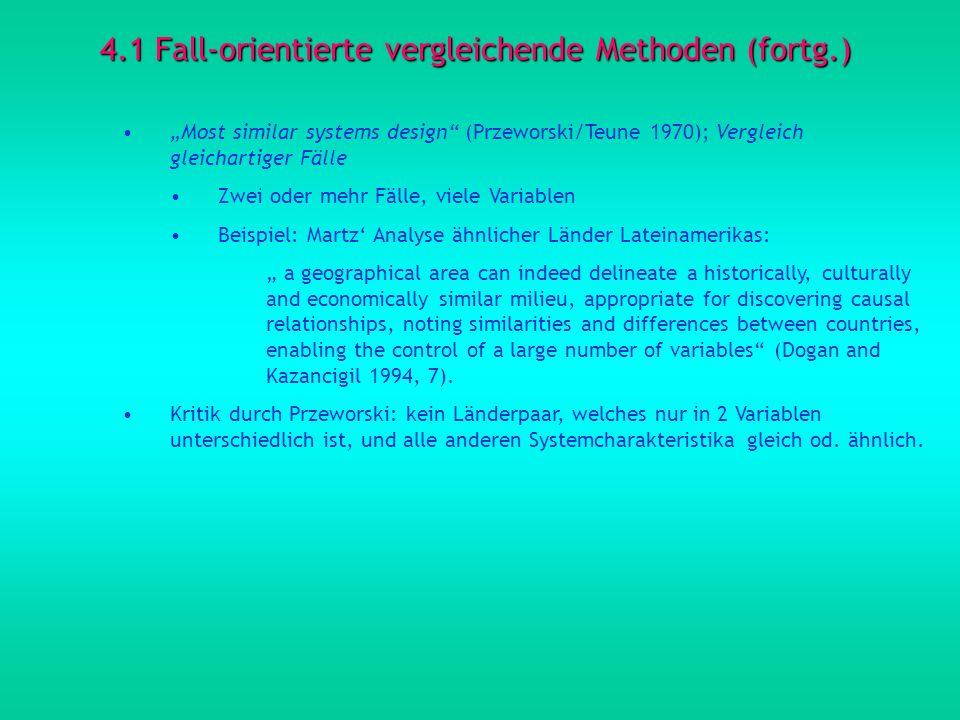 4.1 Fall-orientierte vergleichende Methoden (fortg.) Most similar systems design (Przeworski/Teune 1970); Vergleich gleichartiger Fälle Zwei oder mehr
